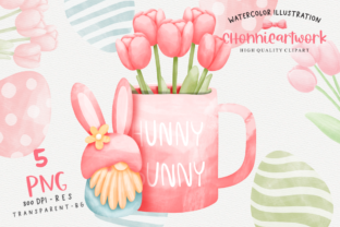 Print on Demand: Easter Day with Gnome and Tulips Flower Graphic Crafts By Chonnieartwork