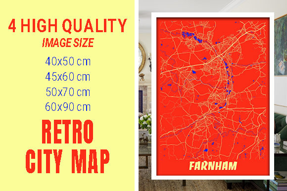 Farnham - United Kingdom Retro City Map Gráfico Fotografías Por pacitymap