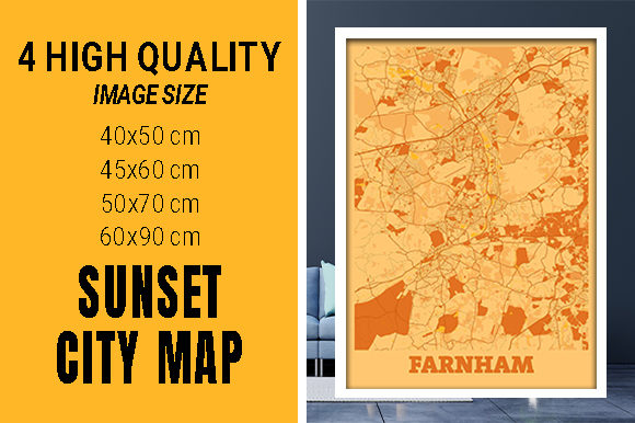 Farnham - United Kingdom Sunset City Map Grafik Fotos von pacitymap