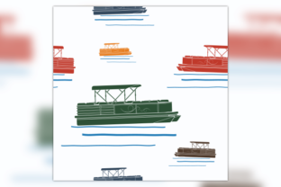Flat Semi-Oblique Pontoon Boat Pattern Graphic Patterns By faqeeh