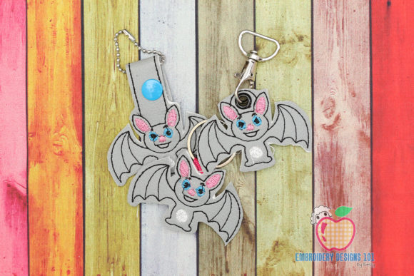 Flying Halloween Bat ITH Snaptab Keyfob Halloween Embroidery Design By embroiderydesigns101
