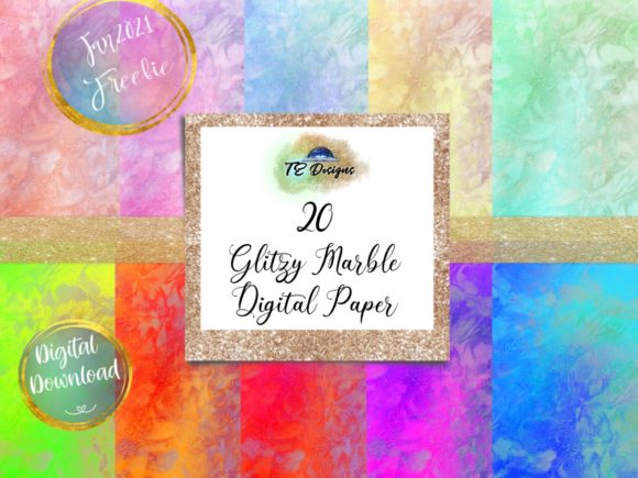 Print on Demand: Glitzy Marble Digital Papers Graphic Backgrounds By TE Designs