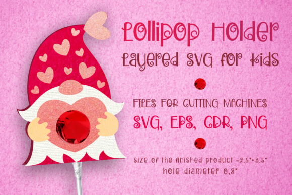 Print on Demand: Gnome Lollipop Holder - Valentines SVG Gráfico SVG en 3D Por Olga Belova