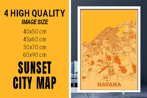 Havana - Cuba Sunset City Map Grafik Fotos von pacitymap