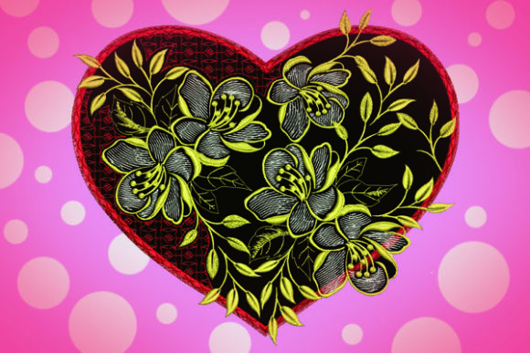 Heart Flowers Valentine's Day Embroidery Design By Samsul Huda