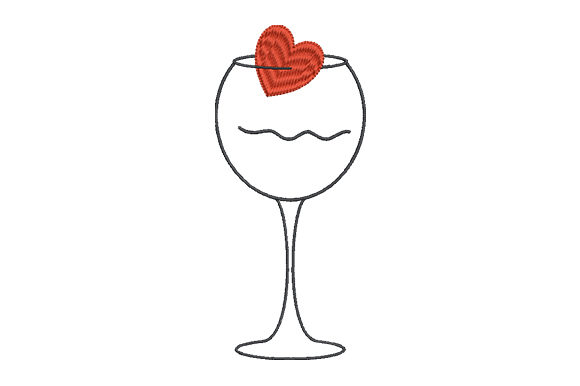 Print on Demand: Heart and Wineglass Valentine's Day Embroidery Design By EmbArt