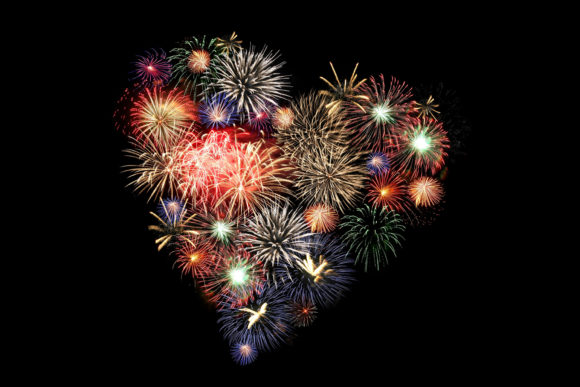 Heart Shaped Fireworks Graphic Arts & Entertainment By impresstore