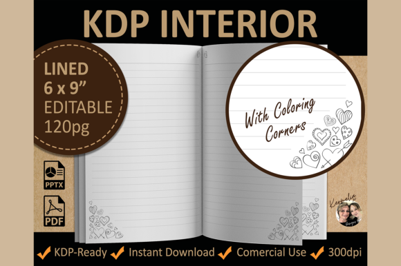 Hearts Valentine Lined Coloring Interior Template Graphic KDP Interiors By KermeliaDesigns