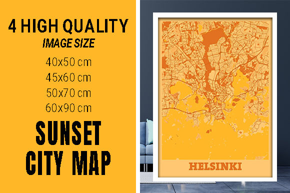 Helsinki - Finland Sunset City Map Grafik Fotos von pacitymap