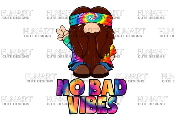 Hippie Gnome , No Bad Vibes , PNG Graphic Illustrations By Fundesings