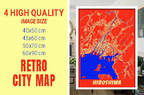 Hiroshima - Japan Retro City Map Gráfico Fotografías Por pacitymap