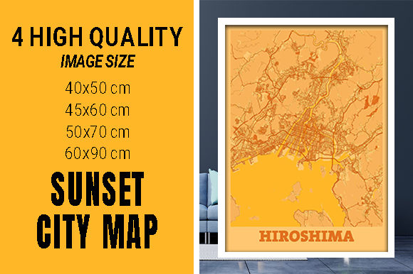 Hiroshima - Japan Sunset City Map Grafik Fotos von pacitymap