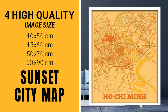 Ho Chi Minh - Vietnam Sunset City Map Grafik Fotos von pacitymap