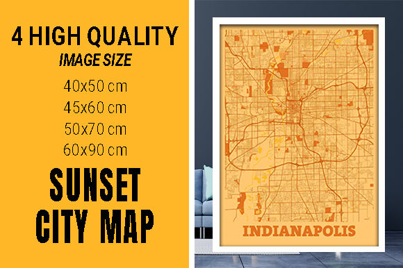 Indianapolis - Indiana Sunset City Map Grafik Fotos von pacitymap