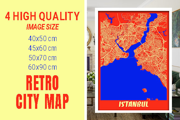 Istanbul - Turkey Retro City Map Gráfico Fotografías Por pacitymap
