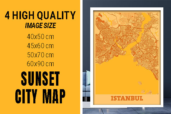Istanbul - Turkey Sunset City Map Grafik Fotos von pacitymap