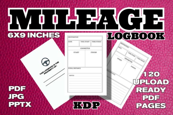 KDP Mileage Logbook Interior Graphic KDP Interiors By .99 Cent Digital Products