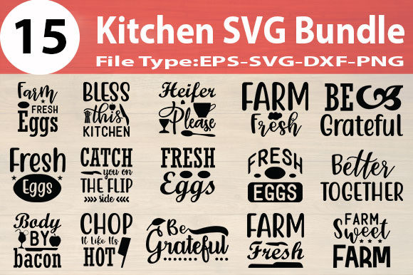 Print on Demand: Kitchen SVG Design Bundle Graphic Print Templates By Design Store