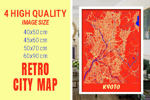Kyoto - Japan Retro City Map Gráfico Fotografías Por pacitymap