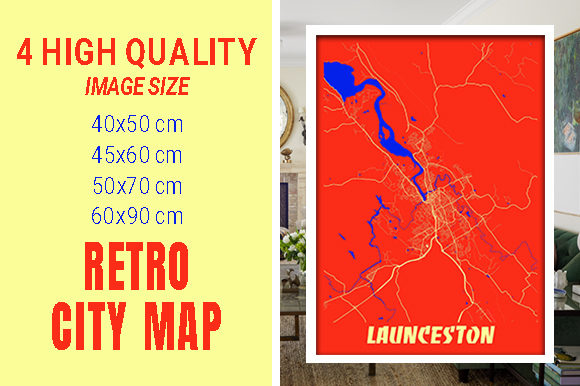Launceston - Australia Retro City Map Gráfico Fotografías Por pacitymap