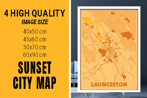 Launceston - Australia Sunset City Map Grafik Fotos von pacitymap