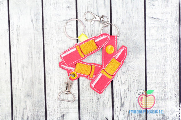 Lipstick in the Hoop Keyfob Accessories Embroidery Design By embroiderydesigns101