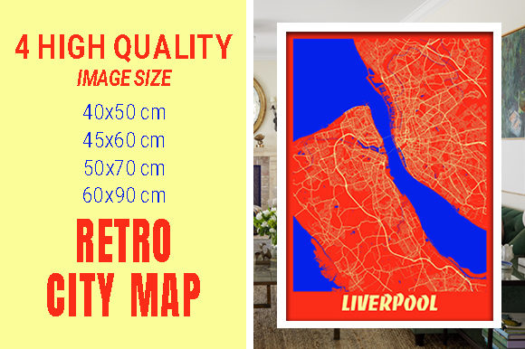 Liverpool - United Kingdom Retro City Gráfico Fotografías Por pacitymap