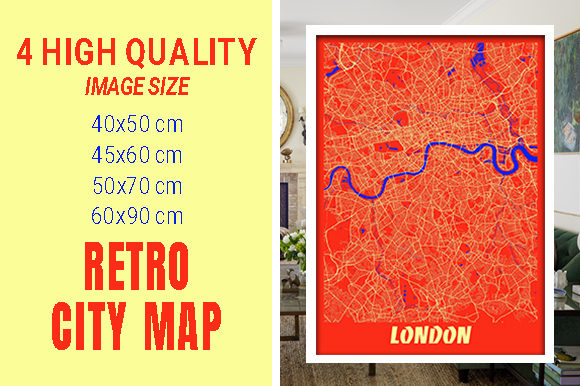 London - United Kingdom Retro City Map Gráfico Fotografías Por pacitymap