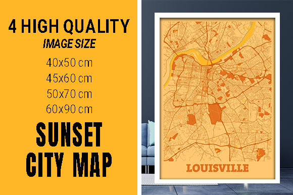 Louisville - Kentucky Sunset City Map Grafik Fotos von pacitymap
