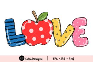Love Apple Teacher PNG. Graphic Illustrations By CatAndMe