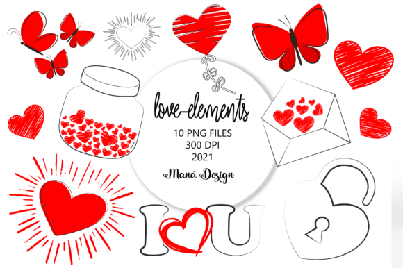 Print on Demand: Love Elements Graphic Illustrations By Maná Design