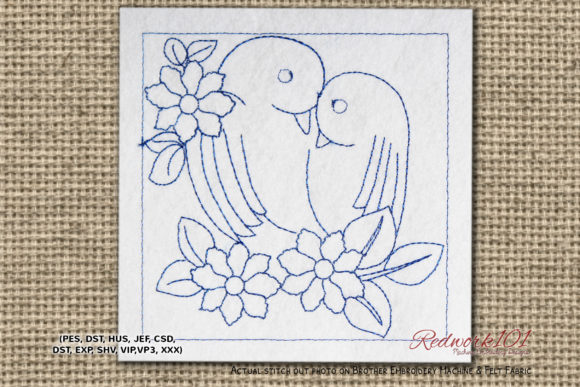 Lover Birds Redwork Vögel Stickdesign von Redwork101