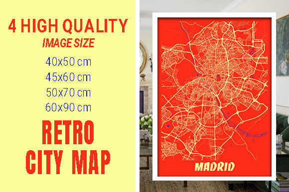 Madrid - Spain Retro City Map Gráfico Fotografías Por pacitymap