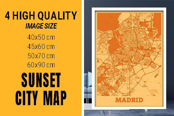 Madrid - Spain Sunset City Map Grafik Fotos von pacitymap
