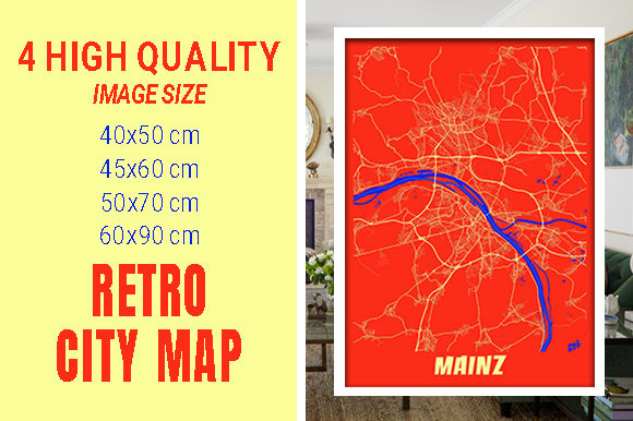 Mainz - Germany Retro City Map Gráfico Fotografías Por pacitymap