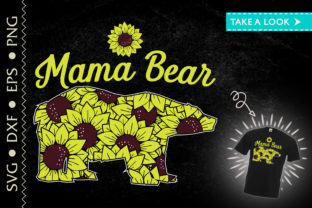 Print on Demand: Mama Bear Sunflower Bear Mothers Day Mom Graphic Print Templates By Tweetii