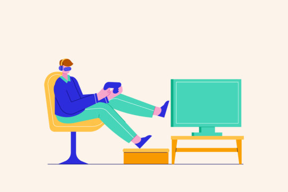 Man Playing Video Game at Home Vector Graphic Illustrations By depotvisual