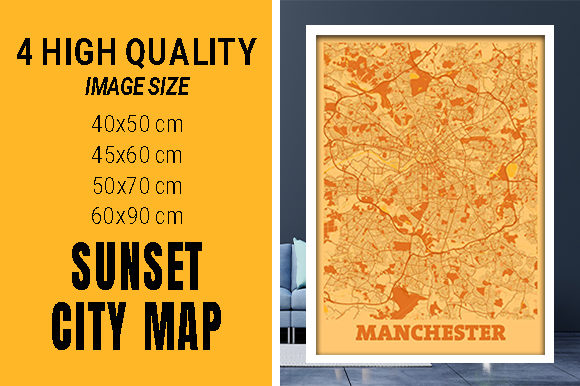 Manchester - United Kingdom Sunset City Grafik Fotos von pacitymap