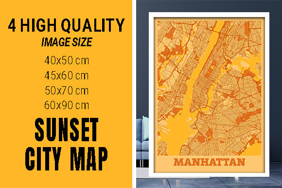 Manhattan - United States Sunset City Grafik Fotos von pacitymap