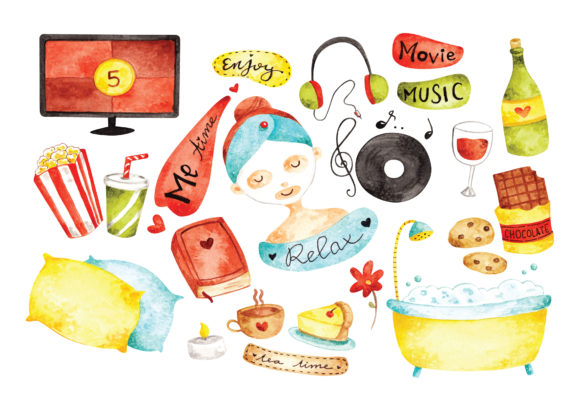 Me Time Concept Doodle Water Color Style Graphic Illustrations By Big Barn Doodles