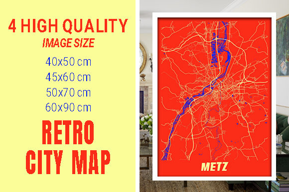 Metz - France Retro City Map Gráfico Fotografías Por pacitymap