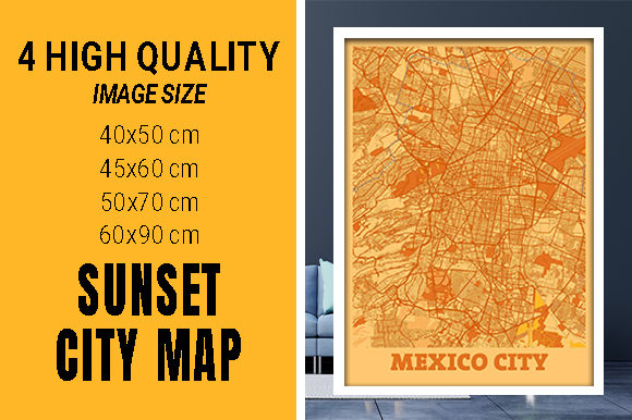 Mexico City - Mexico Sunset City Map Grafik Fotos von pacitymap