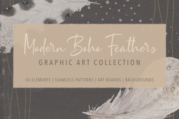 Print on Demand: Modern Boho Feather Graphics Collection Gráfico Ilustraciones Por Jennadesigns