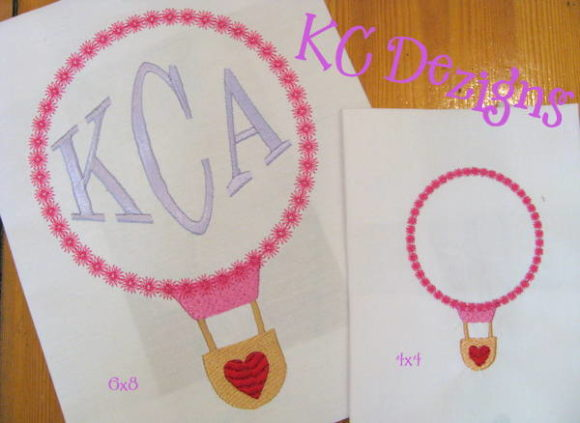 Monogram Valentine Air Balloon Applique Valentine's Day Embroidery Design By karen50
