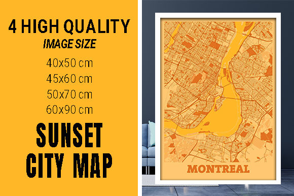 Montreal - Canada Sunset City Map Grafik Fotos von pacitymap