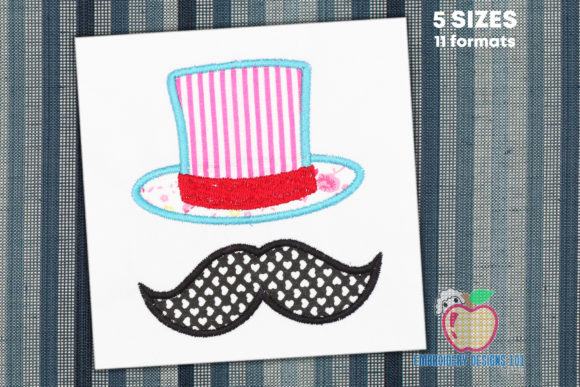 Moustache and Hat Applique Boys & Girls Embroidery Design By embroiderydesigns101