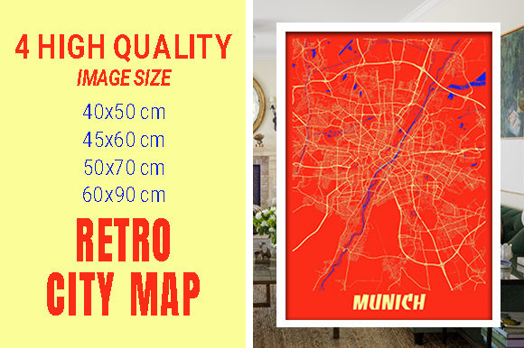 Munich - Germary Retro City Map Gráfico Fotografías Por pacitymap