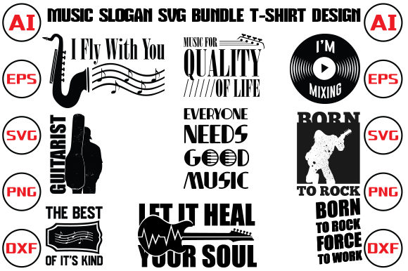 Music Slogan SVG Bundle T-shirt Design Grafik Druck-Templates von rubel2026