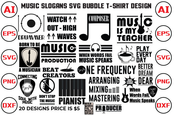 Music Slogans SVG Bundle T-shirt Design Graphic Print Templates By rubel2026