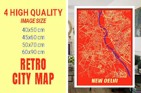 New Delhi - India Retro City Map Gráfico Fotografías Por pacitymap